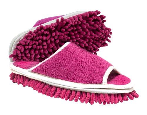 Slipper Genie Microfiber Cleaning Slippers Pink Seen Finder